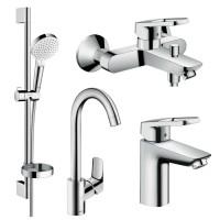 LOGIS LOOP набор смесителей для ванны, умывальник 100 + кухня (71151000+71244000+26553400+71835000)