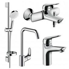 NOVUS набор смесителей для ванны, умывальник 100 + кухня (71030000+7104000+26553400+31820000)