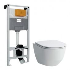 Комплект: PRO Rimless унитаз подвесной, в комплекте с сиденьем Slim + VOLLE MASTER NEO инсталляция для подвесного унитаза без клавиши