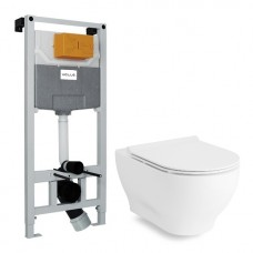 Комплект: OLIVA Rimless унитаз, сиденье SLIM+VOLLE MASTER NEO инсталляция для подвесного унитаза без клавиши