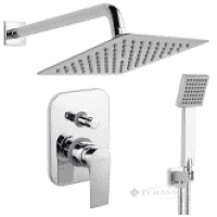 Набор встроенного монтажа с верхним душем FERRO квадрат хром