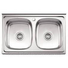 Кухонная мойка с двумя чашами 790х660х510 сатин PLATINUM