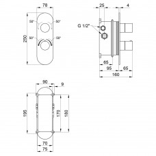 Смеситель термостатический скрытого монтажа для душа Qtap Votice 65T105OGC на три потребителя